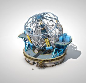 """The European Extremely Large Telescope (E-ELT), with a main mirror 39 metres in diameter, will be the world's biggest eye on the sky when it becomes operational early in the next decade. The E-ELT will tackle the biggest scientific challenges of our time, and aim for a number of notable firsts, including tracking down Earth-like planets around other stars in the """"habitable zones"""" where life could exist — one of the Holy Grails of modern observational astronomy. The telescope design itself is revolutionary and is based on a novel five-mirror scheme that results in exceptional image quality. The primary mirror consists of almost 800 segments, each 1.4 metres wide, but only 50 mm thick. The optical design calls for an immense secondary mirror 4.2 metres in diameter, bigger than the primary mirrors of any of ESO's telescopes at La Silla. Adaptive mirrors are incorporated into the optics of the telescope to compensate for the fuzziness in the stellar images introduced by atmospheric turbulence. One of these mirrors is supported by more than 6000 actuators that can distort its shape a thousand times per second. The telescope will have several science instruments. It will be possible to switch from one instrument to another within minutes. The telescope and dome will also be able to change positions on the sky and start a new observation in a very short time. The very detailed design for the E-ELT shown here is preliminary. - Crédito: ESO"""