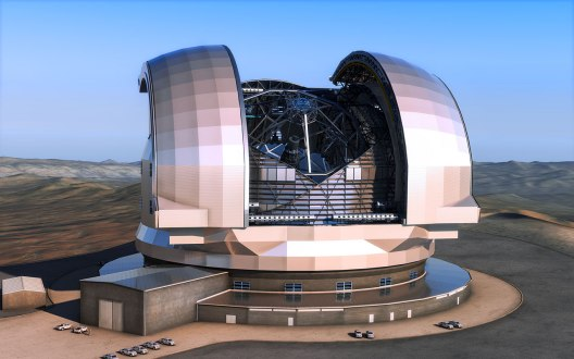 """This artist's impression shows the European Extremely Large Telescope (E-ELT) in its enclosure. The E-ELT will be a 39-metre aperture optical and infrared telescope sited on Cerro Armazones in the Chilean Atacama Desert, 20 kilometres from ESO's Very Large Telescope on Cerro Paranal. It will be the world's largest """"eye on the sky"""".Thedesign for the E-ELT shown here is preliminary."""